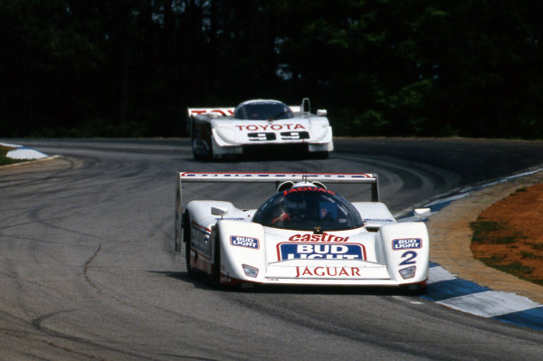 Davy Jones (USA) Jaguar Racing Jaguar XJR-14 leads Juan Manuel Fangio II (ARG) All American Racers Eagle Mk III Toyota. IMSA GTP, Rd4, Road Atlanta, USA, 26 April 1992.