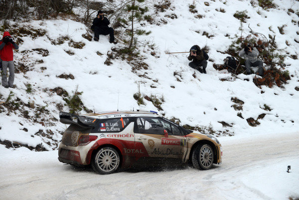 Sebastien Loeb (FRA) and Daniel Elena (MC), Citroen  DS3 WRC on stage 13. FIA World Rally Championship, Rd1, Rally Monte- Carlo, Day Three, Monte-Carlo, Monaco, 18 January 2013.