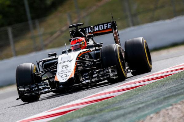Circuit de Catalunya, Barcelona, Spain. Wednesday 13 May 2015. Esteban Ocon, Force India VJM08 Mercedes.  World Copyright: Alastair Staley/LAT Photographic. ref: Digital Image _79P5093