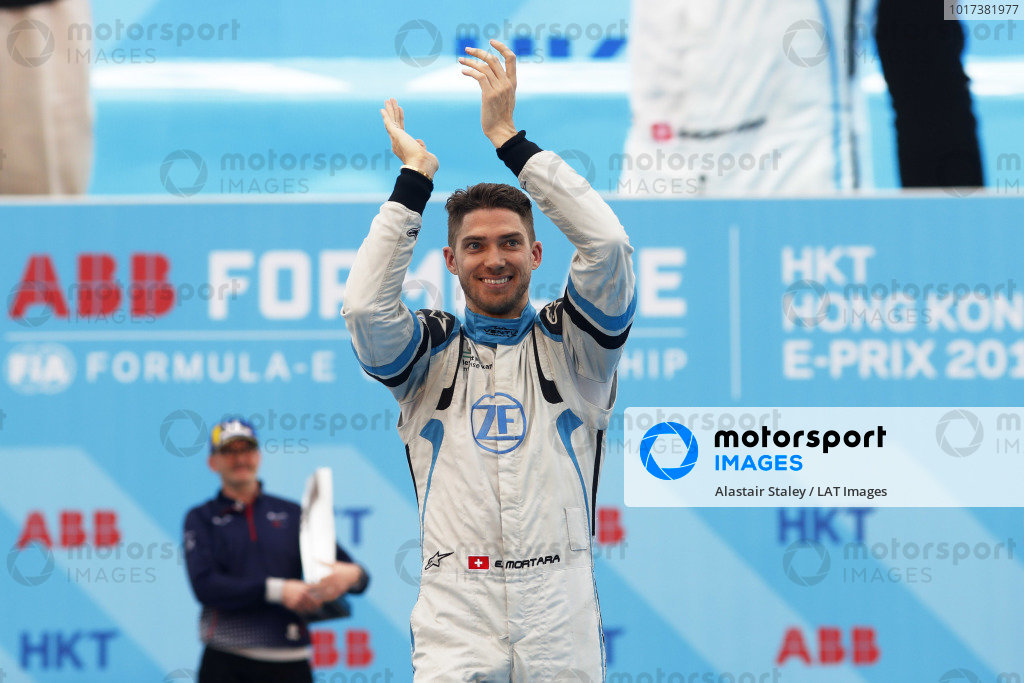 Edoardo Mortara (CHE) Venturi Formula E, celebrates on the podium