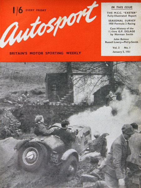 Cover of Autosport magazine, 5th January 1951. Main Picture: During the Lancashire and Cheshire C.C. Winter Trial, Tom Leigh struggles with the new V8 car, whilst Ken Bancroft dashes for cover.