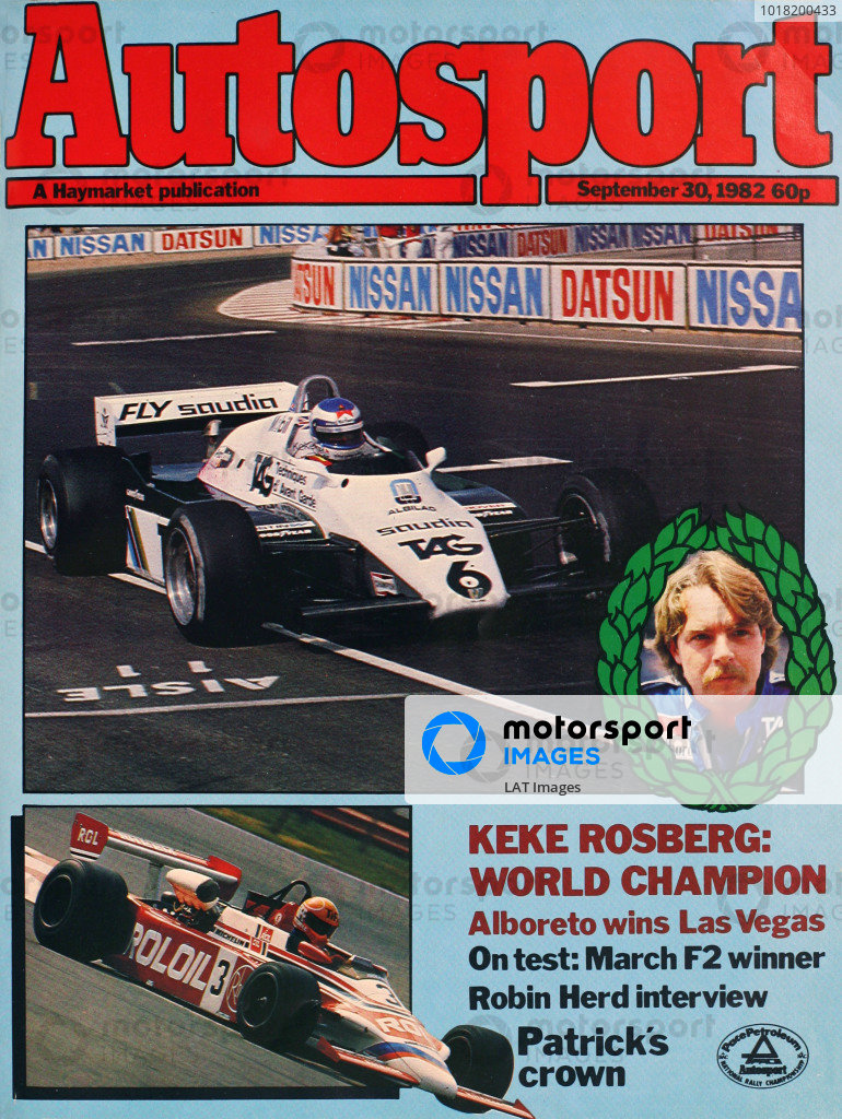 Cover of Autosport magazine, 30th September 1982
