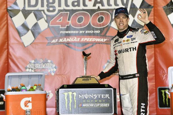 #2: Brad Keselowski, Team Penske, Ford Mustang Wurth  celeberates hits win in Victory Lane