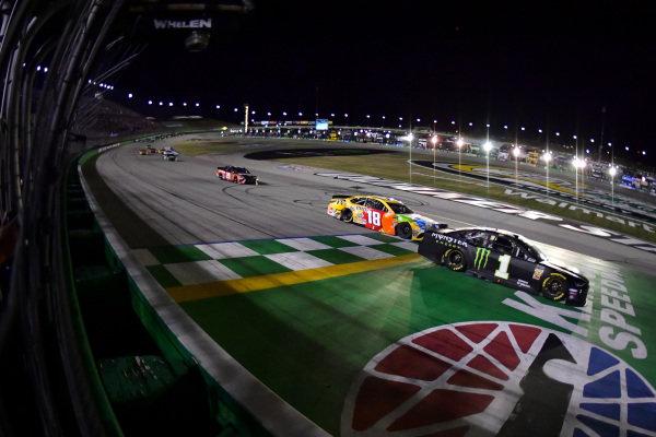 #1: Kurt Busch, Chip Ganassi Racing, Chevrolet Camaro Monster Energy takes the checkered flag, #18: Kyle Busch, Joe Gibbs Racing, Toyota Camry M&M's Toyota Camry