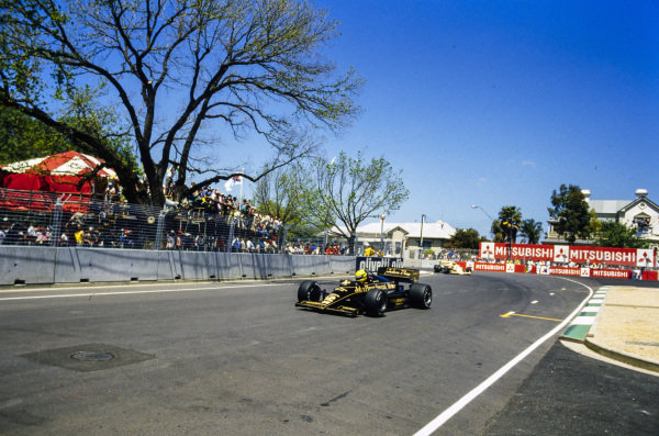 Ayrton Senna, Lotus 97T Renault, leads an Arrows A8 BMW.