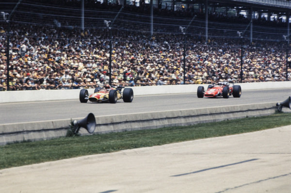 Lloyd Ruby, Gene White, Mongoose Offenhauser, leads Mario Andretti, Andy Granatelli, Hawk III Ford.