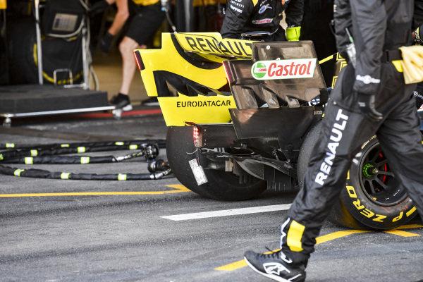 The rear damaged car of Daniel Ricciardo, Renault R.S.19 retiring from the race