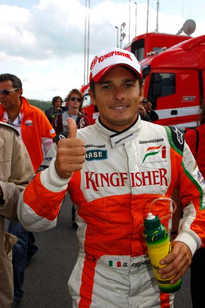Spa-Francorchamps, Spa, Belgium29th August 2009.Giancarlo Fisichella, Force India VJM02 Mercedes, celebrates pole position. Portrait. World Copyright: Charles Coates/LAT Photographicref: Digital Image _26Y8883