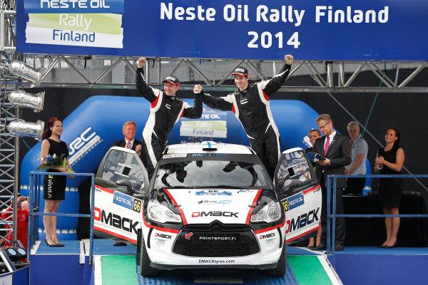 2014 World Rally Championship Rally Finland 1st - 3rd August 2014 Teemu Suninen, Citroen, podium, winner WRC3  Worldwide Copyright: McKlein/LAT