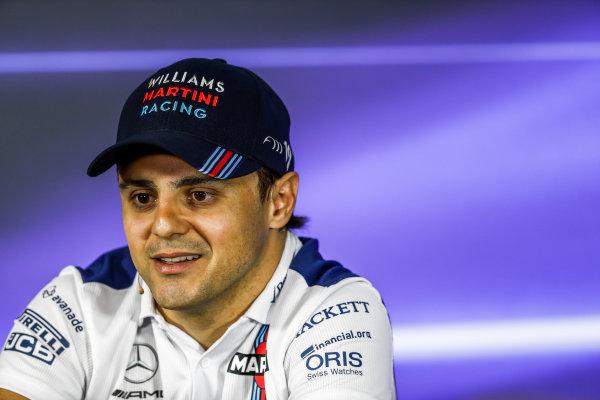 Interlagos, Sao Paulo, Brazil. Thursday 09 November 2017. Felipe Massa, Williams Martini Racing, in the press conference. World Copyright: Glenn Dunbar/LAT Images  ref: Digital Image _31I8531