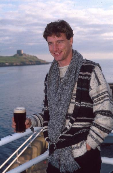 Eddie Irvine enjoys a pint of Guinness at home in Ireland