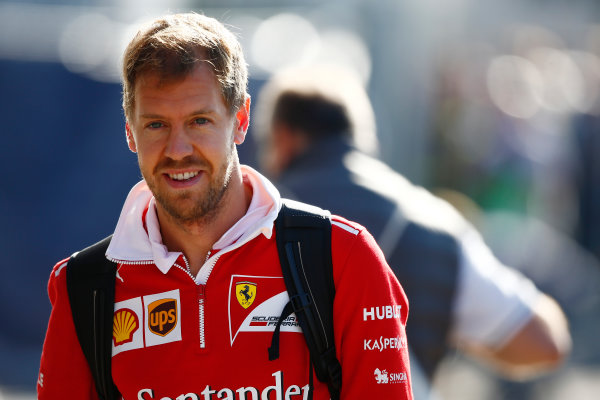 Autodromo Nazionale di Monza, Italy. Sunday 03 September 2017. Sebastian Vettel, Ferrari, arrives in the paddock. World Copyright: Andy Hone/LAT Images  ref: Digital Image _ONY7223