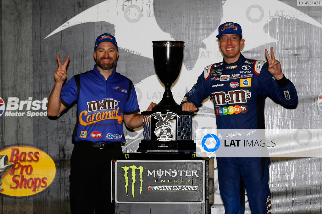 Monster Energy NASCAR Cup Series Bass Pro Shops NRA Night Race Bristol Motor Speedway, Bristol, TN USA Saturday 19 August 2017 Kyle Busch, Joe Gibbs Racing, M&M's Caramel Toyota Camry Victory Lane World Copyright: Nigel Kinrade LAT Images