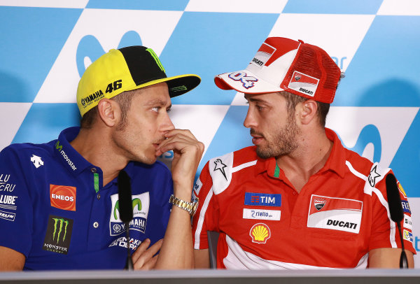 2017 MotoGP Championship - Round 14 Aragon, Spain. Thursday 21 September 2017 Valentino Rossi, Yamaha Factory Racing, Andrea Dovizioso, Ducati Team World Copyright: Gold and Goose / LAT Images ref: Digital Image 693453