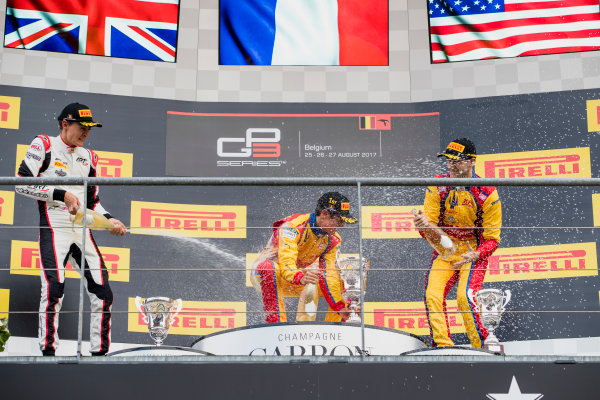 2017 GP3 Series Round 5.  Spa-Francorchamps, Spa, Belgium. Sunday 27 August 2017. George Russell (GBR, ART Grand Prix), Giuliano Alesi (FRA, Trident), Ryan Tveter (USA, Trident).  Photo: Zak Mauger/GP3 Series Media Service. ref: Digital Image _56I3094