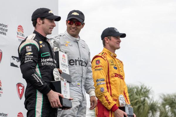 11-13 March, 2016, St Petersburg, Florida USA 2 Juan Pablo Montoya 22 Simon Pagenaud 28 Ryan Hunter-Reay on the podium  ?2016, Sam Cobb LAT Photo USA
