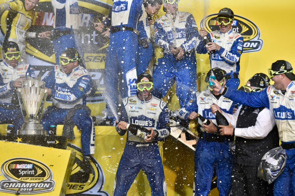 18-20 November, 2016, Homestead, Florida USA Jimmie Johnson Championship Victory Lane Celebrations © 2016, Nigel Kinrade LAT Photo USA