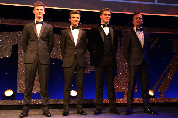 2016 Autosport Awards. Grosvenor House Hotel, Park Lane, London. Sunday 4 December 2016. Young Driver of the Year contenders, Toby Sowery, Lando Norris, Sennan Fielding and Ricky Collard.  World Copyright: /LAT Photographic. ref: Digital Image JL3_9146