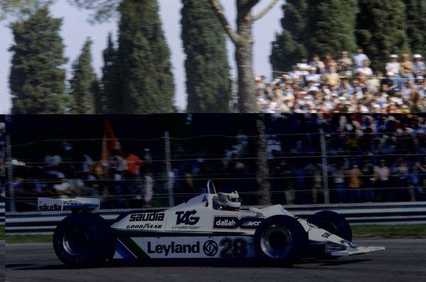 1980 Italian Grand Prix.Imola, Italy. 12-14 September 1980.Carlos Reutemann (Williams FW07B-Ford Cosworth), 3rd position.World Copyright: LAT PhotographicRef: 35mm transparency 80ITA08