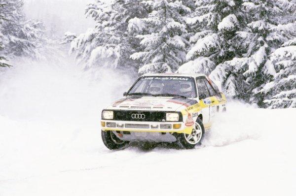 1985 World Rally Championship.Swedish Rally, Sweden. 15-17 February 1985.Stig Blomqvist/Bjorn Cederberg (Audi Sport Quattro), 2nd position.World Copyright: LAT PhotographicRef: 35mm transparency 85RALLY22