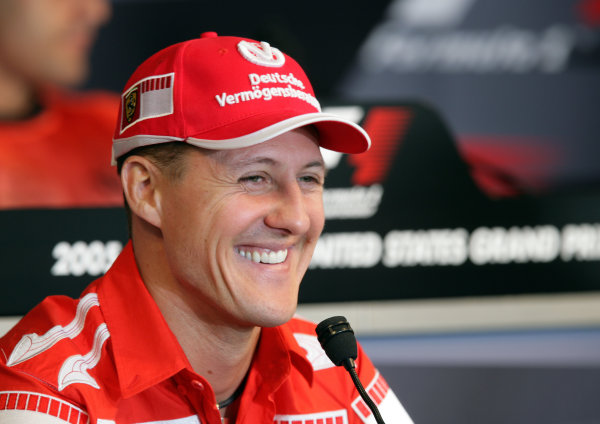2005 United States Grand Prix - Thursday Preview,Indianapolis, USA. 16th June 2005 Michael Schumacher in the press conference World Copyright: Michael Cooper/LAT Photographic ref: 48mb Hi Res Digital Image