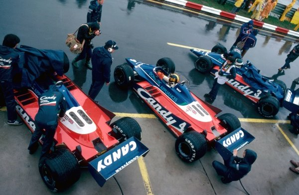 The three Tyrrell 010 cars in the pit lane. Canadian Grand Prix, Rd 13, Montreal, Canada, 28 September 1980.