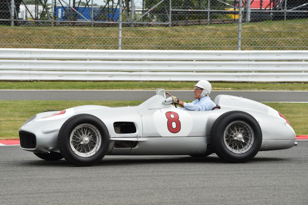 Stirling Moss (GBR) Mercedes W196 at Formula One World Championship, Rd9, British Grand Prix, Race, Silverstone, England, Sunday 5 July 2015.