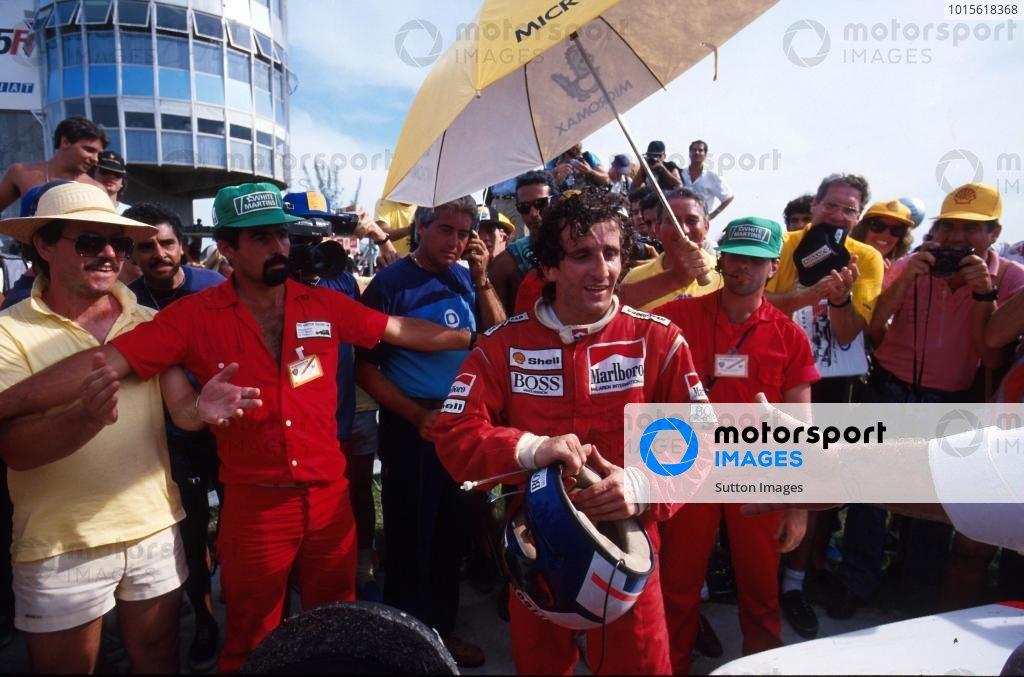 Alain Prost (FRA) McLaren TAG MP4/3 - Winner Brazilian Grand Prix, Jacarepagua, 12 April 1987