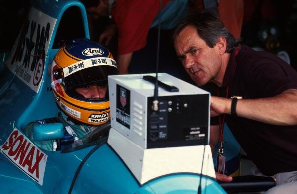 Karl Wendlinger talks with Jochen Neerpasch, right.