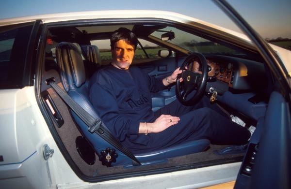 Martin Donnelly at home with his Lotus.Formula One Drivers At Home