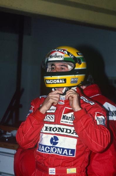 Imola, Italy. 29th April - 1st May 1988. Ayrton Senna (McLaren MP4/4-  World Copyright: LAT Photographic Ref: 88SM