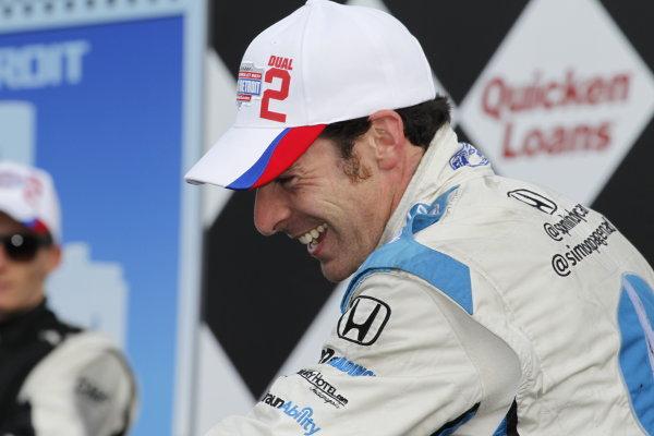 2 June, 2013, Detroit, Michigan, USA Winner Simon Pagenaud on the podium in victory lane. ©2013, Todd Davis LAT Photo USA