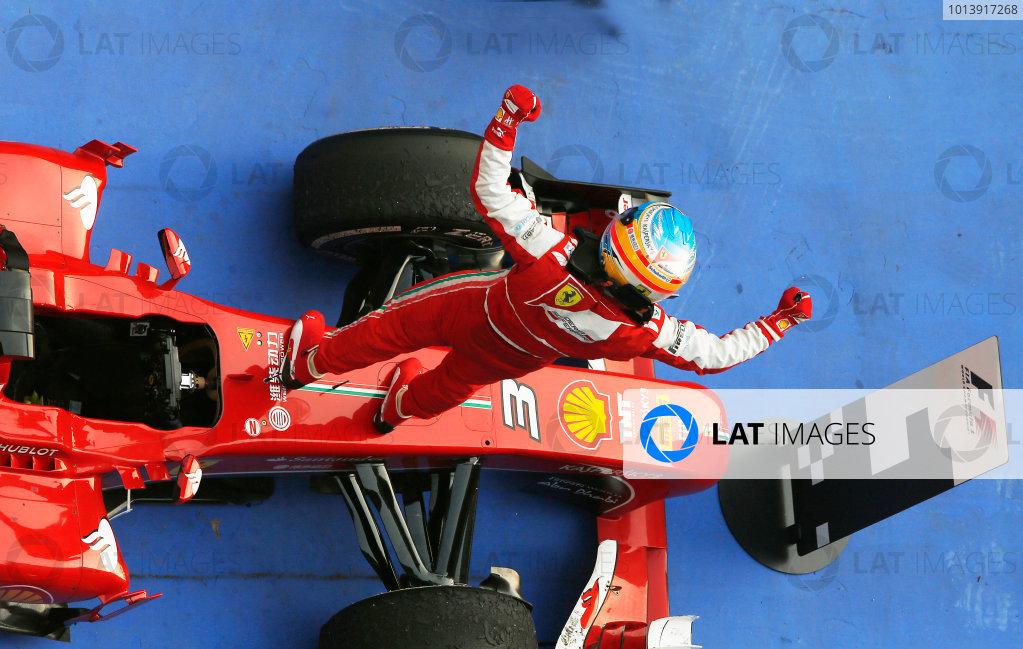 Shanghai International Circuit, Shanghai, China Sunday 14th April 2013 Fernando Alonso, Ferrari, 1st position, celebrates in Parc Ferme. World Copyright: Steven Tee/LAT Photographic ref: Digital Image _L0U0243
