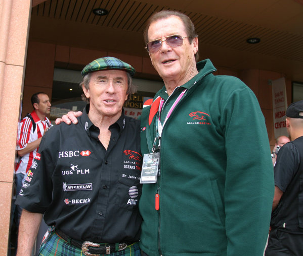 2004 Monaco Grand Prix - Sunday Race,Monaco. 23rd May 2004 The names Moore, Roger Moore, with Sir Jackie Stewart. Portrait.World Copyright: Steve Etherington/LAT Photographic ref: Digital Image Only