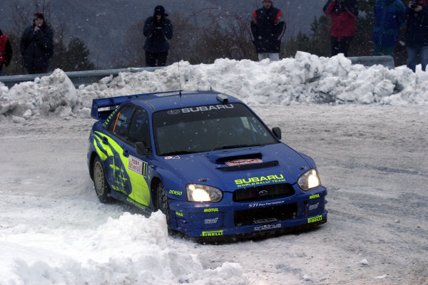 2004 FIA World Rally Champs. Round one, Monte Carlo Rally.22nd-25th January 2004.Petter Solberg, Subaru, Action.World Copyright: McKlein/LAT