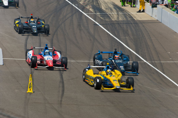 27 May, 2012, Indianapolis, Indiana, USAAna Beatriz (#25), Rubens Barrichello (#8), James Jakes (#19) and Oriol Servia (#22) exit the pits.(c)2012, F. Peirce WilliamsLAT Photo USA