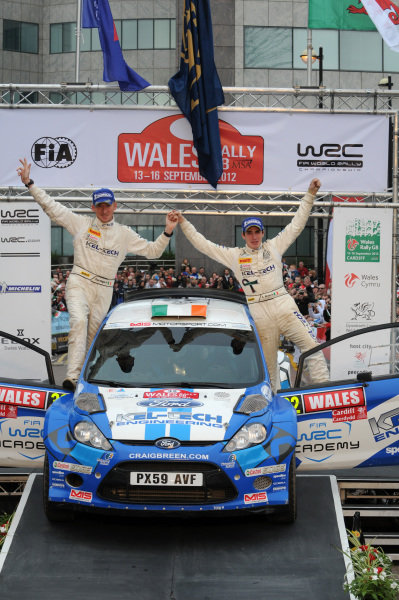 Craig Breen (IRL) and Paul Nagle (IRL), SWRC winners on the podium.