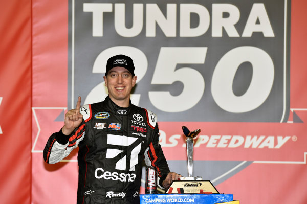 NASCAR Camping World Truck Series Toyota Tundra 250 Kansas Speedway, Kansas City, KS USA Friday 12 May 2017 Kyle Busch, Cessna Toyota Tundra celebrates his win in Victory Lane World Copyright: Nigel Kinrade LAT Images ref: Digital Image 17KAN1nk07226
