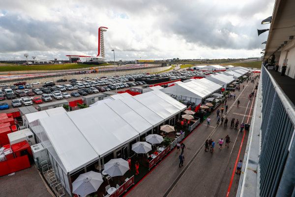 Circuit of the Americas, Austin, Texas, United States of America. Saturday 21 October 2017. Paddock atmosphere. World Copyright: Sam Bloxham/LAT Images  ref: Digital Image _W6I7317