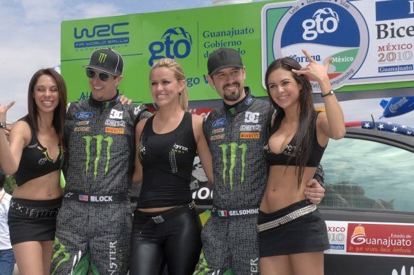 Ken Block (USA), Ford Focus WRC, with the Monster girls on the podium.FIA World Rally Championship, Rd2, Corona Rally Mexico, Leon, Guanajuato, Mexico, Day Three, Sunday 7 March 2010.