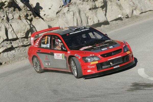2005 FIA World Rally ChampionshipRound 1, Monte Carlo Rally. 20th - 23rd January 2005.Harri Rovanpera (Mitsubishi Lancer WRC), action.World Copyright: McKlein/LAT Photographic.ref: Digital image.