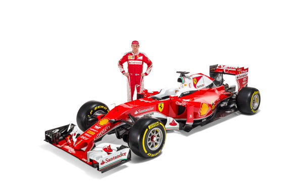 Ferrari SF16-H Reveal. Friday 19 February 2016. Kimi Raikkonen, Ferrari, with the Ferrari SF16-H. Photo: Ferrari (Copyright Free FOR EDITORIAL USE ONLY) ref: Digital Image 160010_new-SF16-h