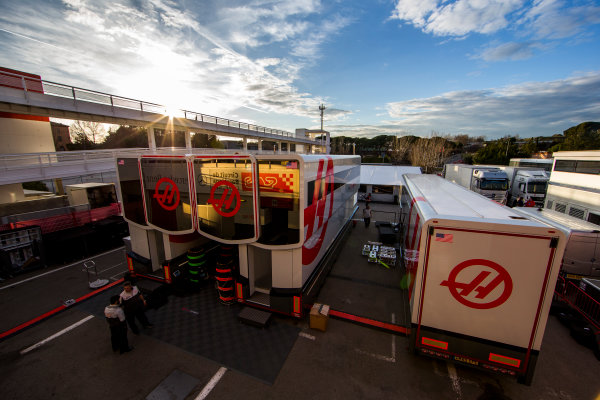 Circuit de Catalunya, Barcelona, Spain Friday 4 March 2016. The sun sets over the Haas F1 Team trucks. World Copyright: Zak Mauger/LAT Photographic ref: Digital Image _L0U6986