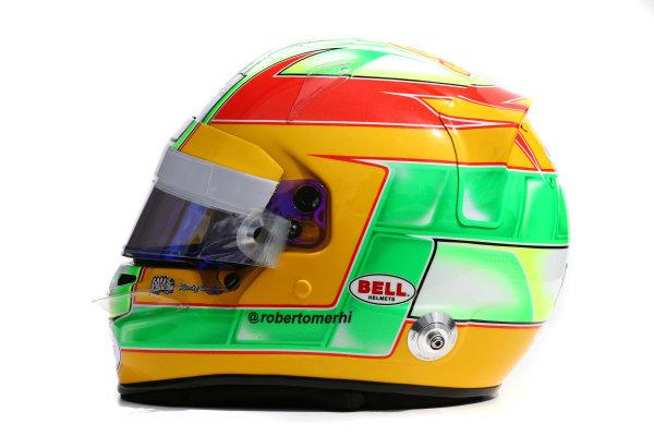 Albert Park, Melbourne, Australia. Helmet of Roberto Merhi, Manor Marussia F1.  Thursday 12 March 2015. World Copyright: LAT Photographic. ref: Digital Image 2015_Helmet_049