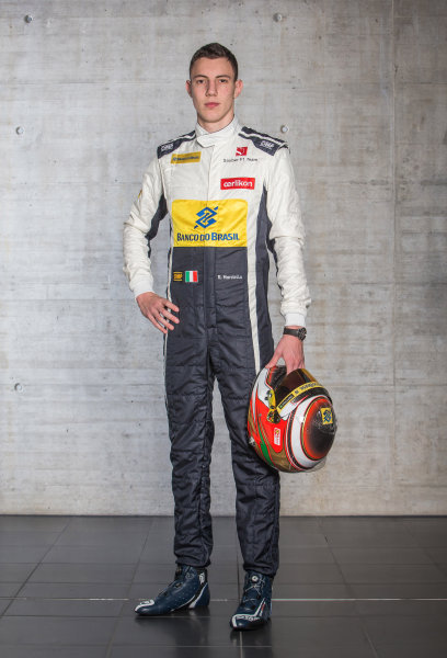 Sauber C34 Reveal. Hinwil, Switzerland. Thursday 29 January 2015. Raffaele Marciello. Photo: Sauber F1 Team (Copyright Free FOR EDITORIAL USE ONLY) ref: Digital Image 20150130_Raffaele_Front_w_Helmet