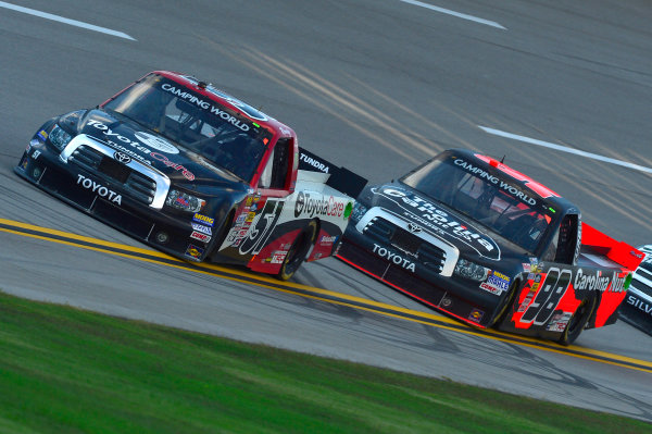 October 18-19, 2013, Talladega, Alabama USA Kyle Busch and Johnny Sauter trucks © 2013, Brian Czobat LAT Photo USA