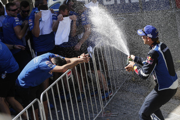 Rally winner Andreas Mikkelsen (NOR), Volkswagen Motorsport II WRC celebrates on the podium wth th champagne at FIA World Rally Championship, Rd13, Rally Australia, Day Three, Coffs Harbour, New South Wales, Australia, 20 November 2016.