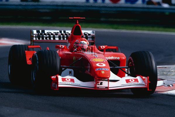 2002 Hungarian Grand Prix.Hungaroring, Budapest, Hungary. 16-18 August 2002.Michael Schumacher (Ferrari F2002) 2nd position. Ref-02 HUN 09.World Copyright - Coates/LAT Photographic