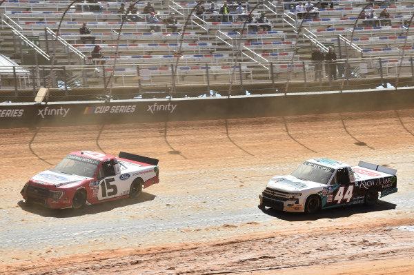 #15: Tanner Gray, Team DGR, Ford F-150 Ford Performance, #44: Kyle Larson, Niece Motorsports, Chevrolet Silverado Rich Mar Florist/Circle B