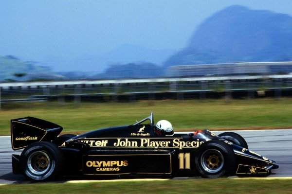 1985 Brazilian Grand Prix.Jacarepagua, Rio de Janeiro, Brazil.5-7 April 1985.Elio de Angelis (Lotus 97T Renault) 3rd position.World Copyright - LAT Photographic
